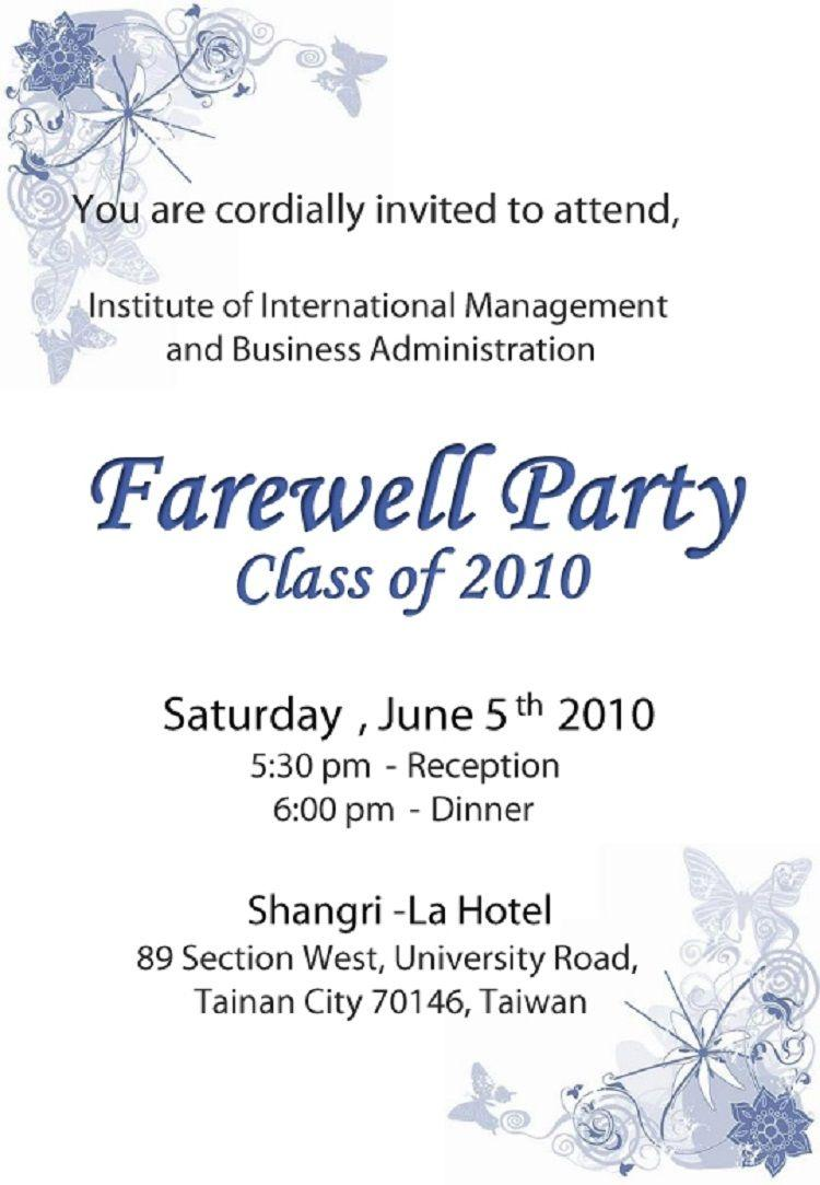 Farewell Party Invitation Cards For Students