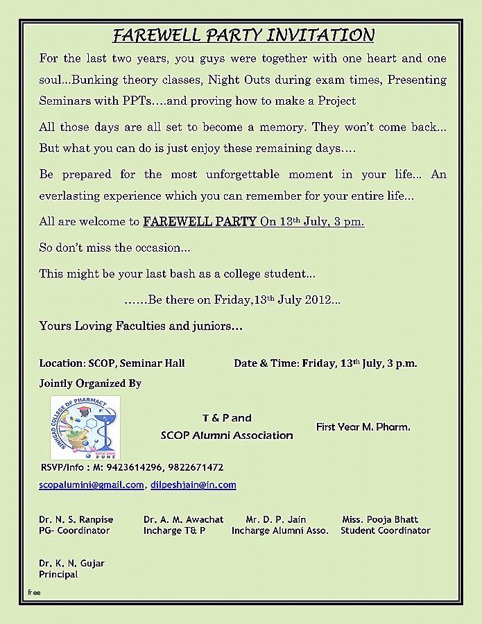 Farewell Reception Invitation Template