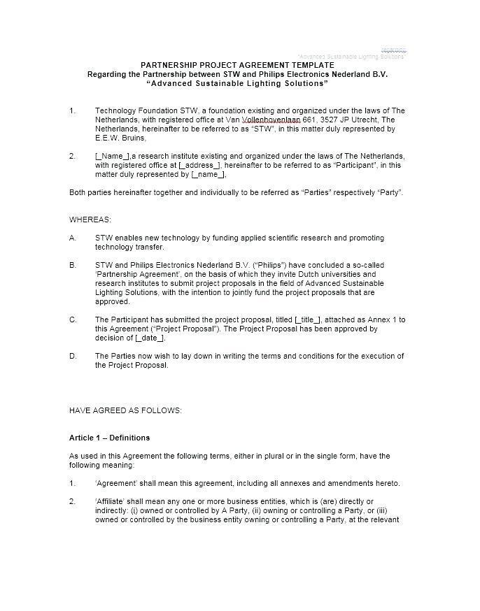 Farming Partnership Agreement Template