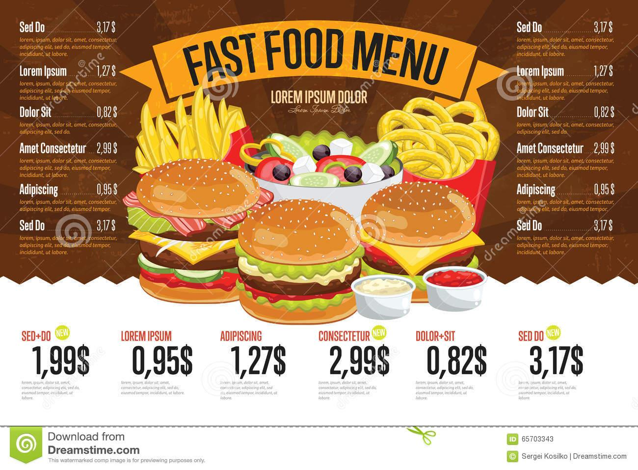 Fast Food Menu Template Free Download
