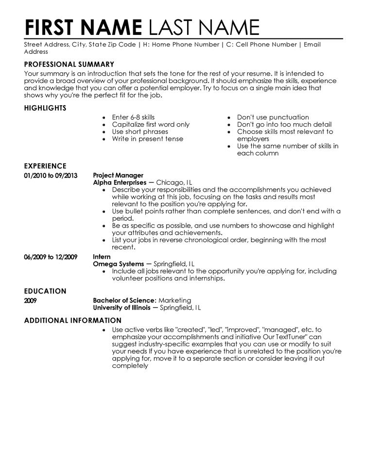 Fast Free Resume Template