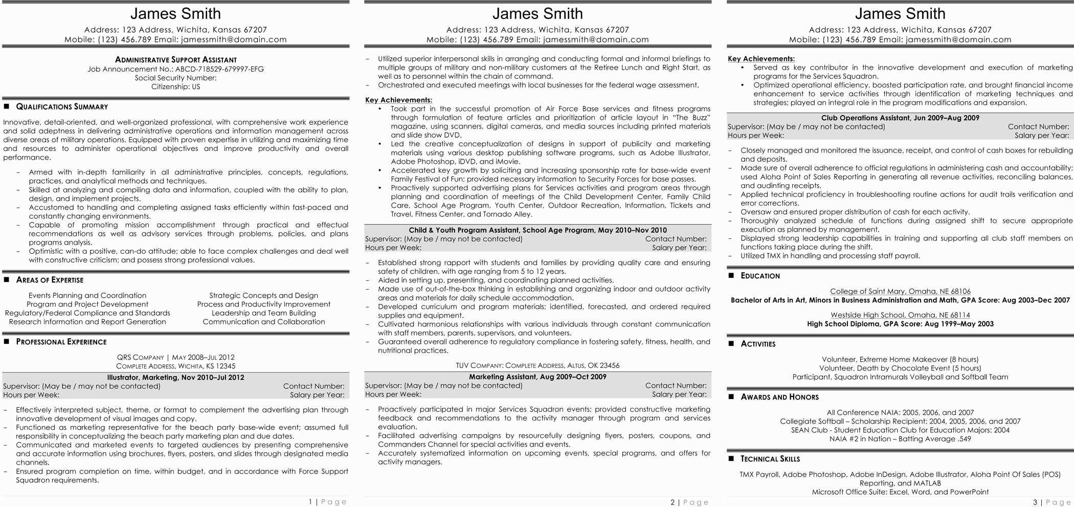 Federal Resume Template Word Doc