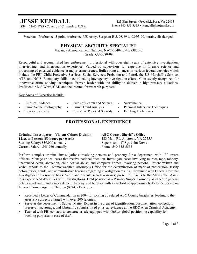 Federal Resume Templates Free