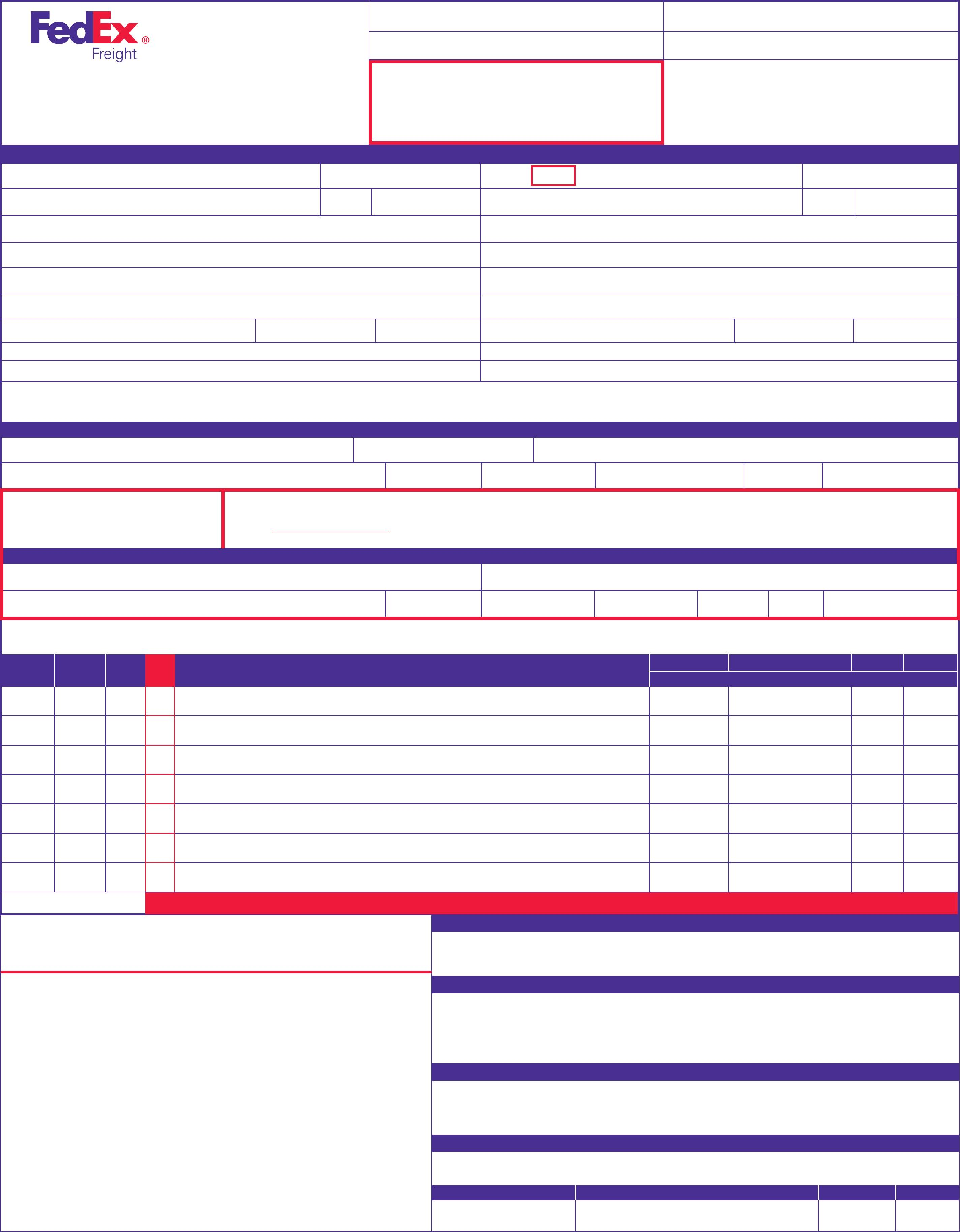Fedex Freight Bill Of Lading Template