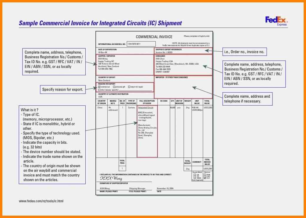 Fedex Invoice Example