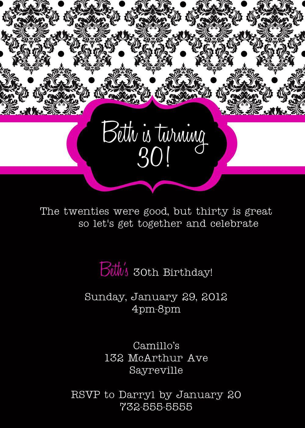 Female 30th Birthday Invitation Templates