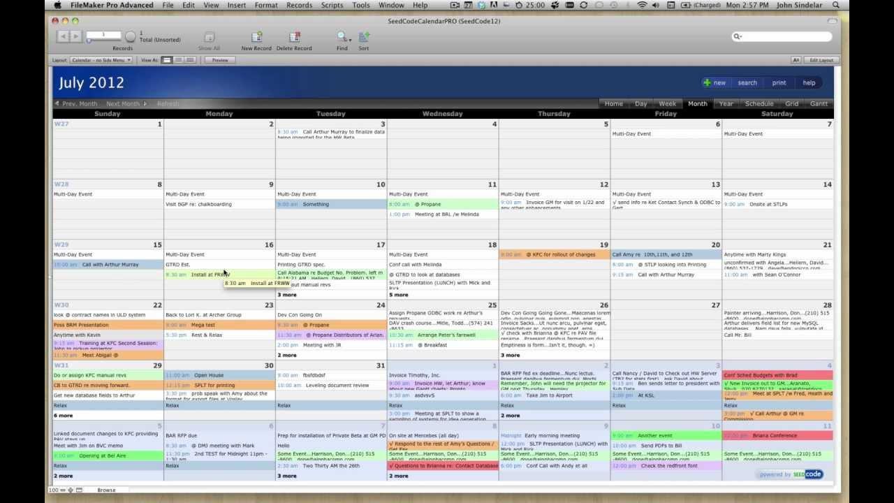 Filemaker Pro Calendar Template
