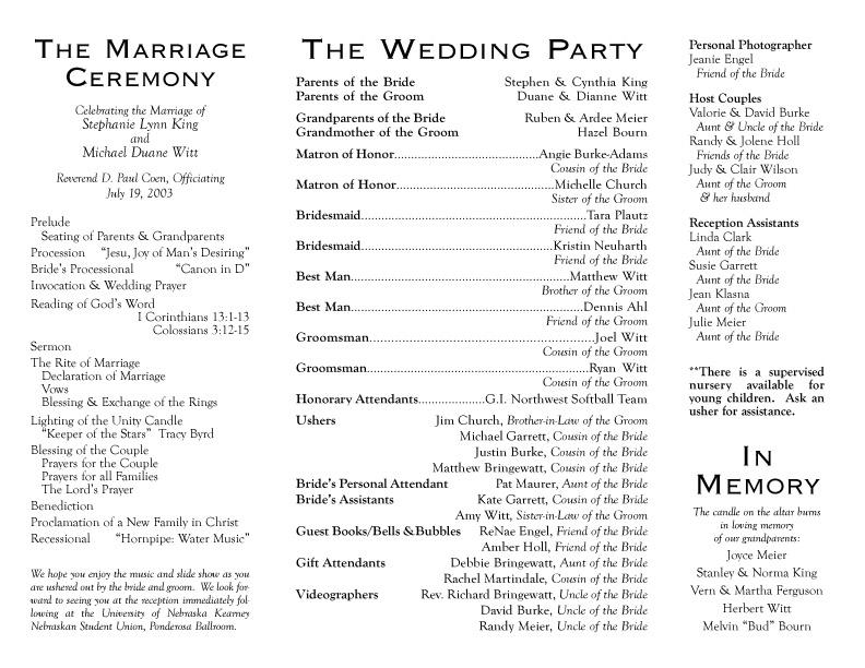 Filipino Wedding Ceremony Program Sample