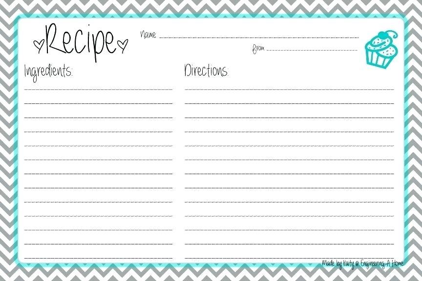 Fillable Recipe Template For Word