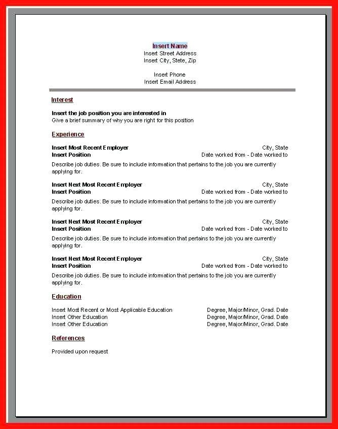 Fillable Resume Templates Microsoft