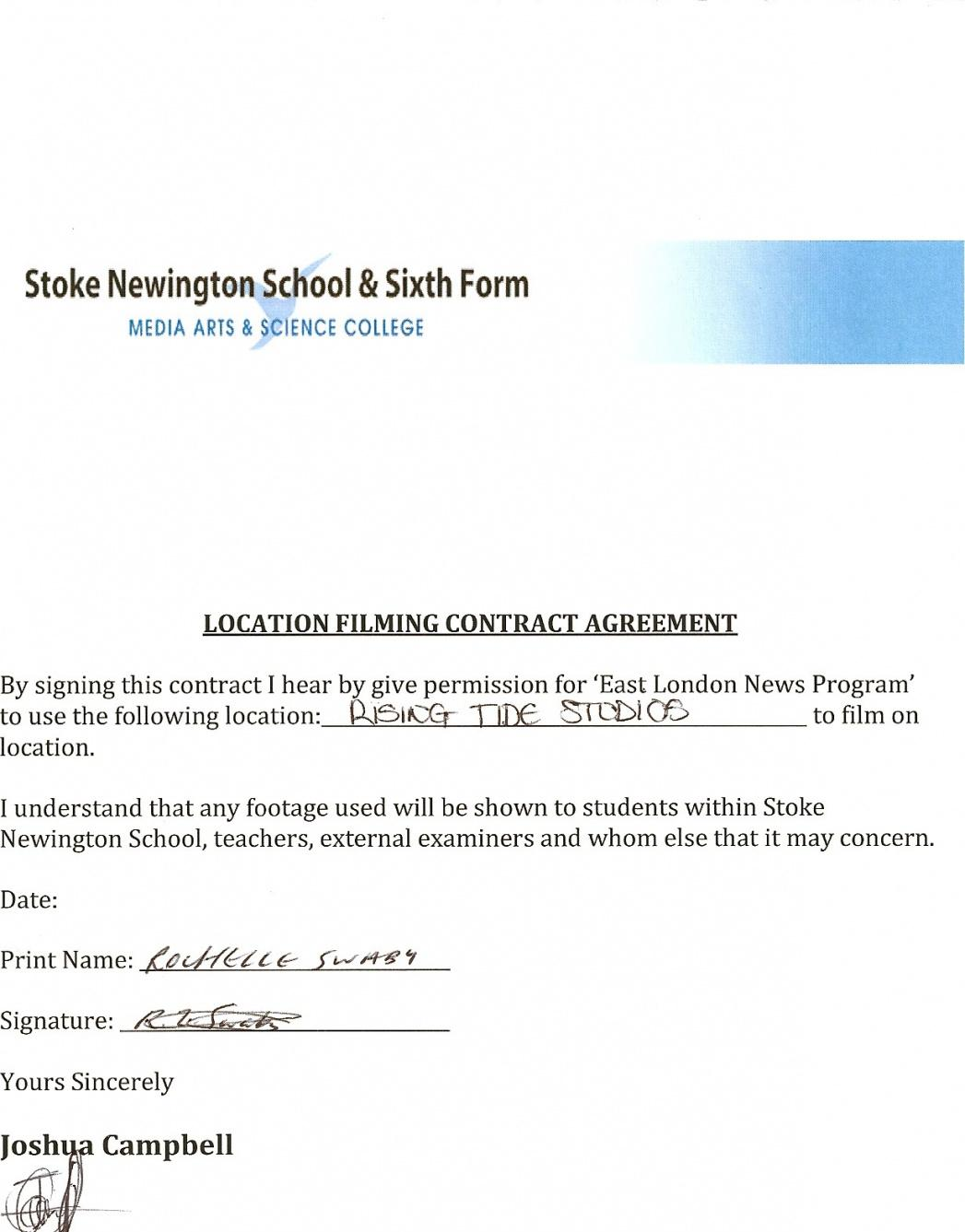 Film Location Contract Template