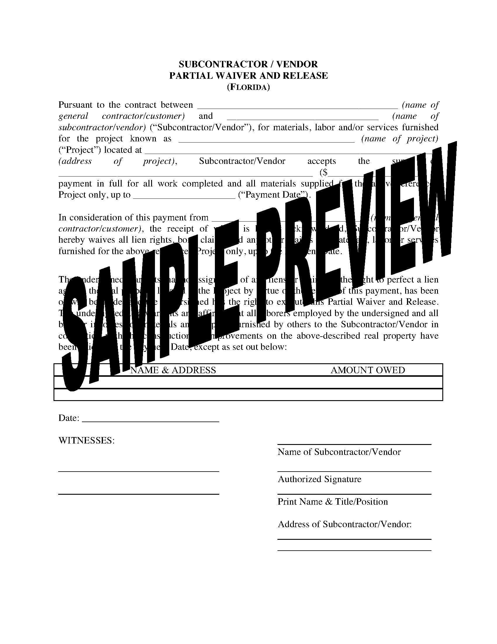 Final Lien Waiver Form Virginia
