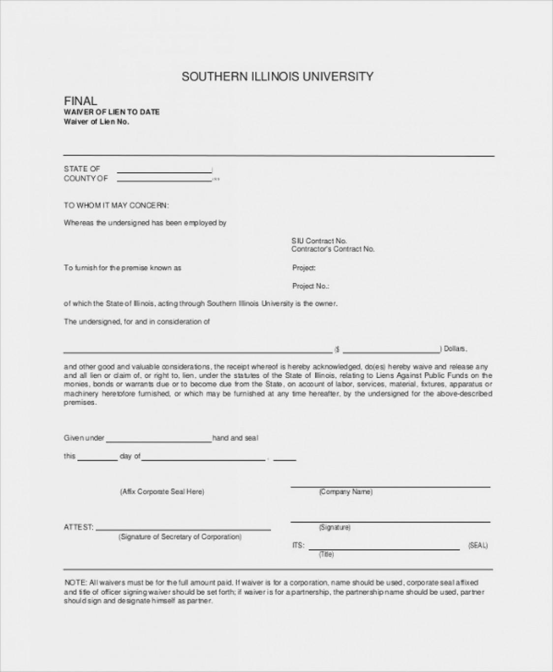 Final Waiver Of Lien Template