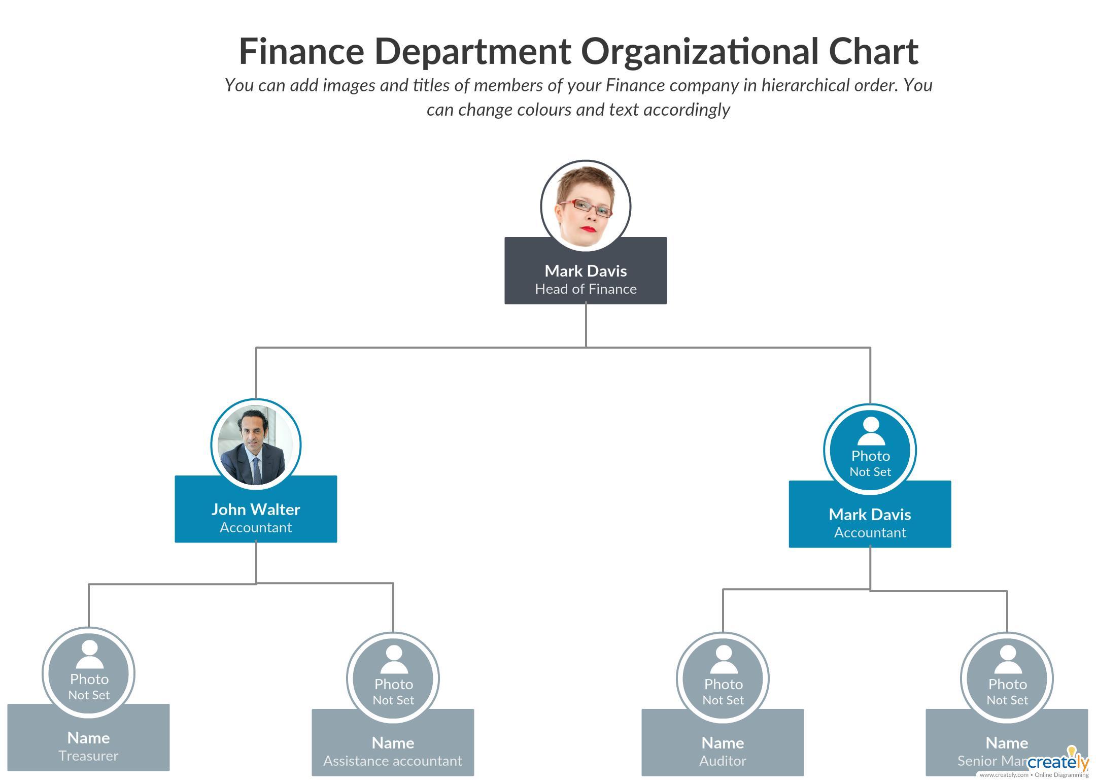 Finance Department Organizational Chart Template