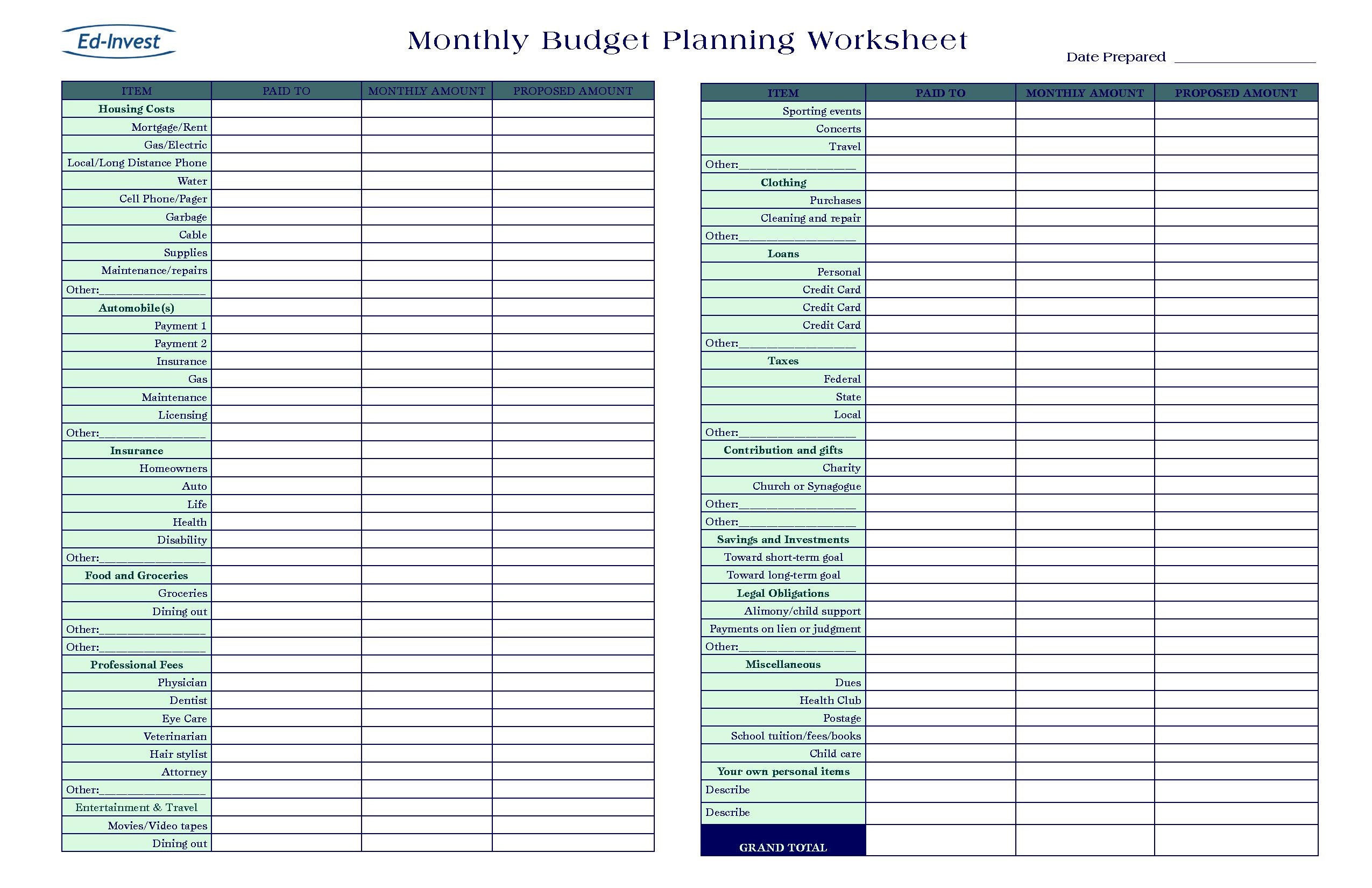 Financial Planning Spreadsheet Templates