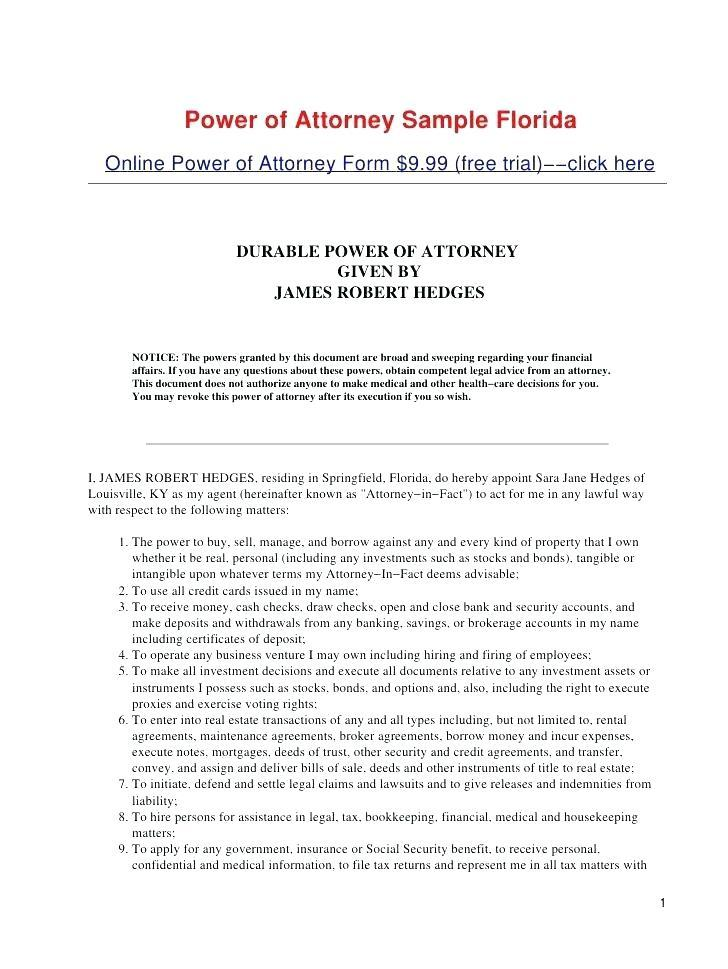 Financial Power Of Attorney Template Ohio