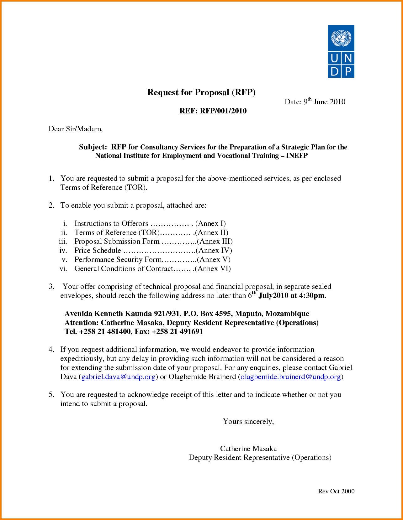 Financial Proposal Template Undp
