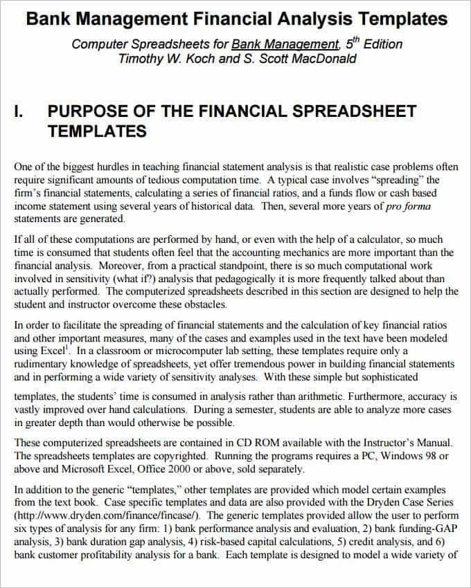 Financial Ratio Analysis Report Template Excel