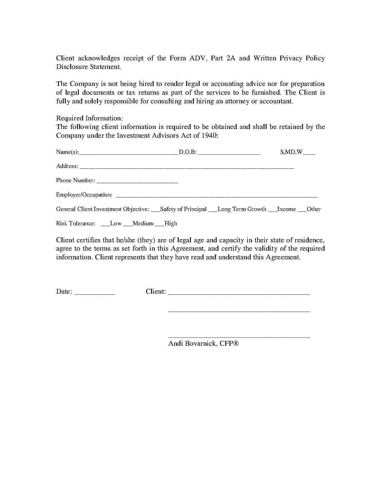Financial Services Agreement Template