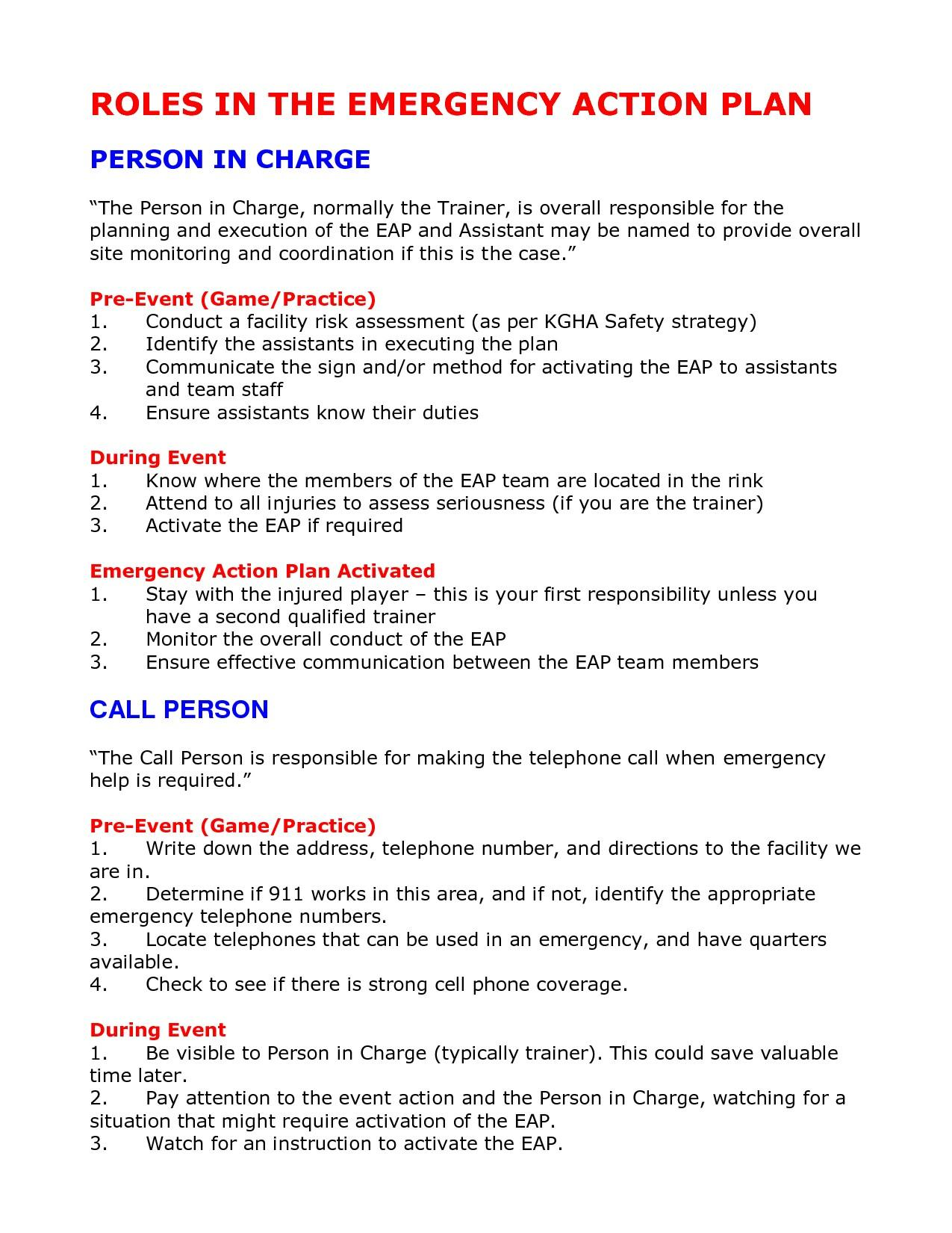 Fire Emergency Action Plan Template