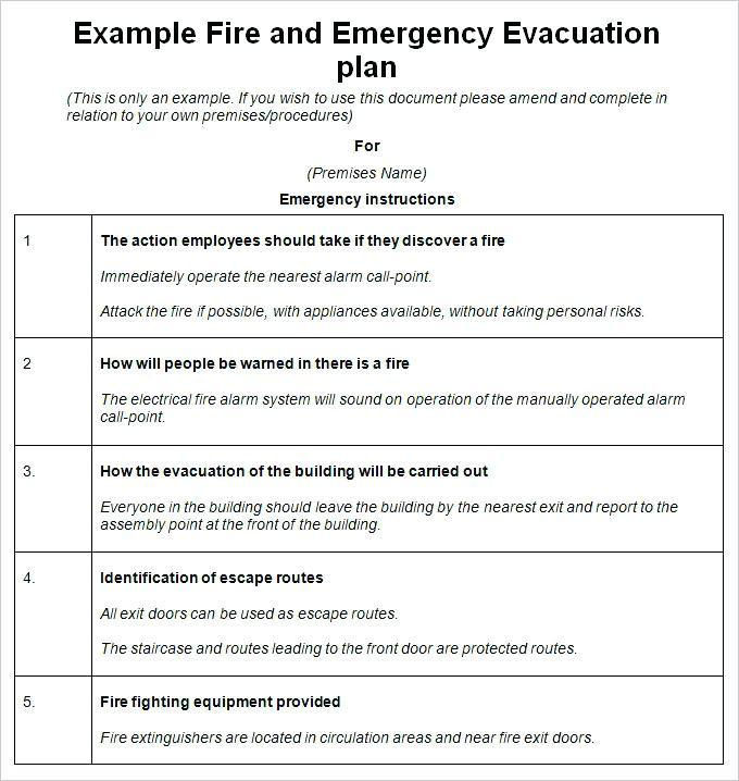 Fire Emergency Evacuation Plan Sample