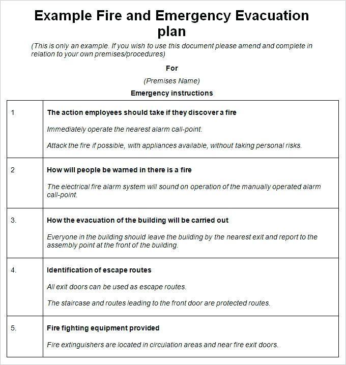 Fire Emergency Plan Template Free