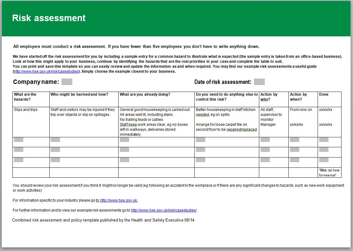 Fire Risk Assessments Templates Uk
