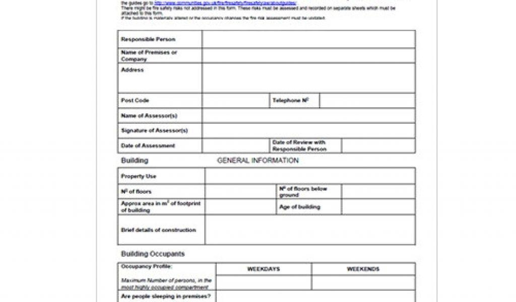 Fire Risk Assessments Templates