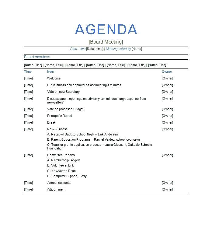 First Board Of Directors Meeting Agenda Template