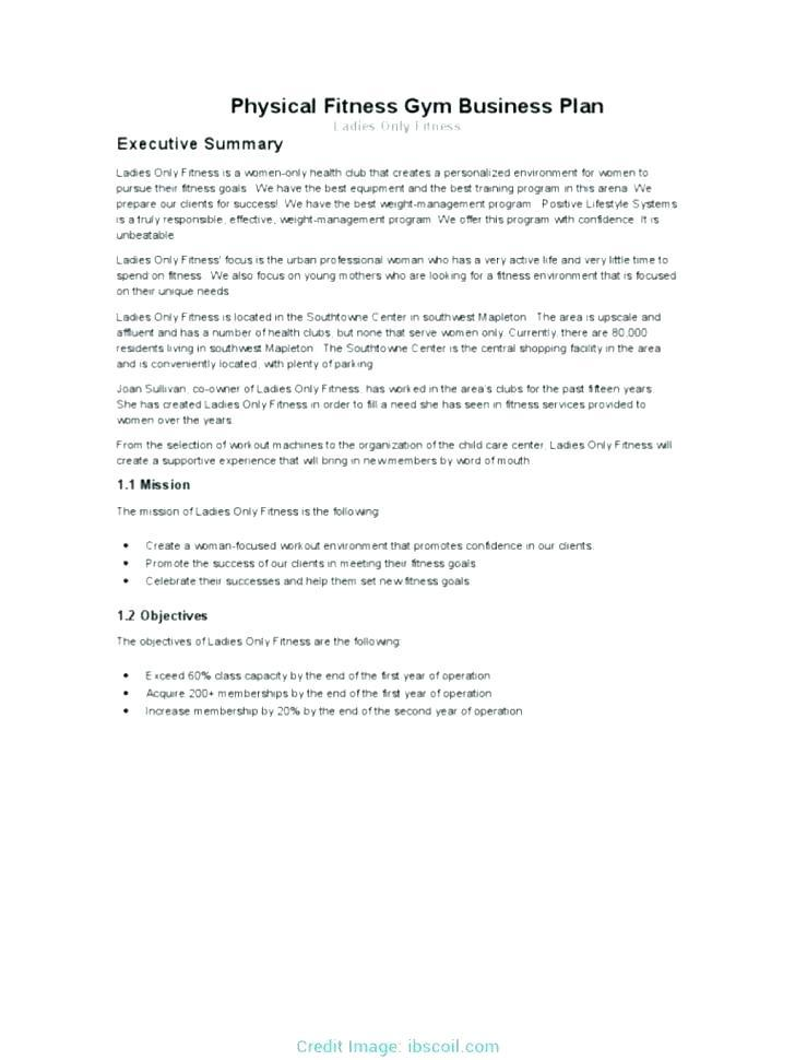 Fitness Centre Business Plan Template