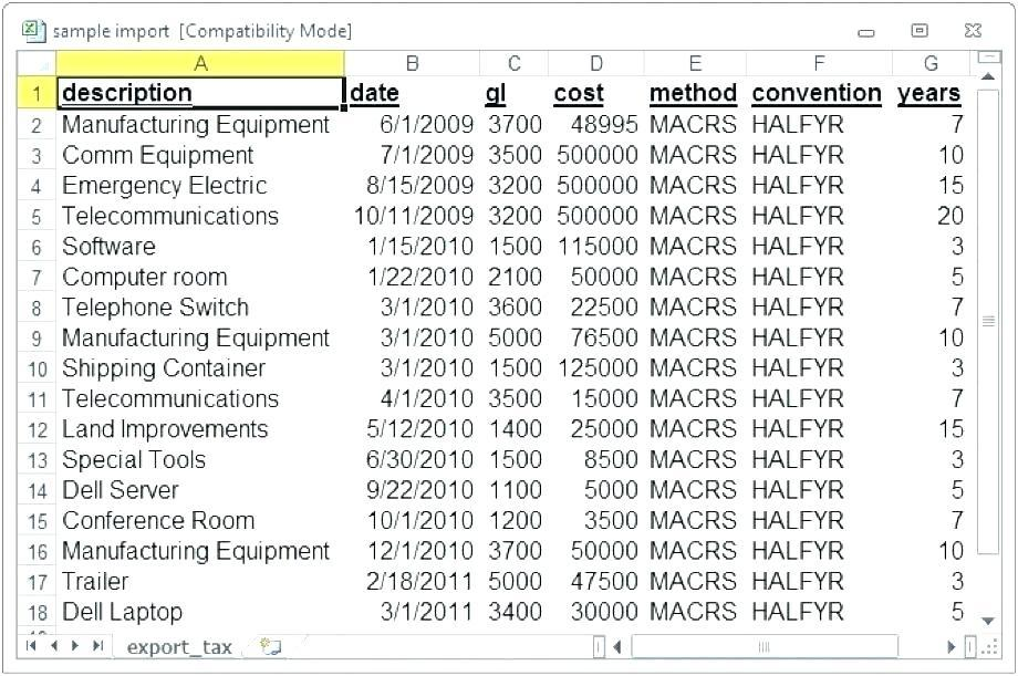 Fixed Asset Movement Schedule Template