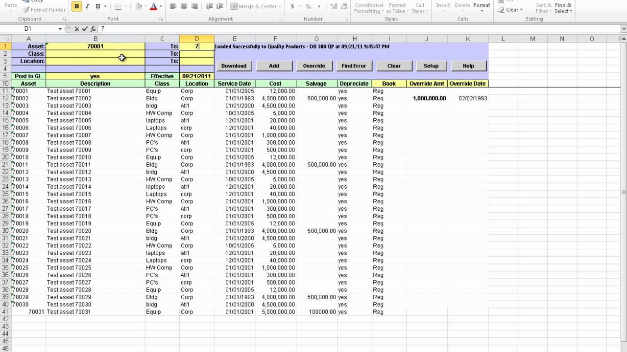 Fixed Asset Register Excel Template Download