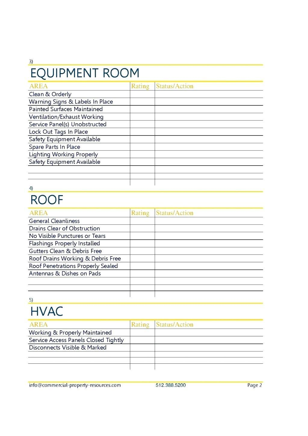 Flat Roof Inspection Checklist Template