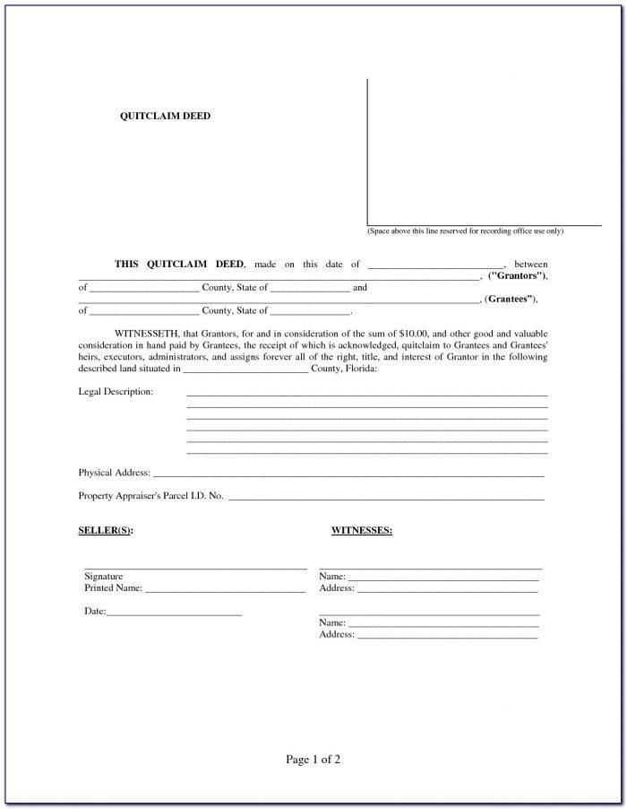 Florida Bar Quit Claim Deed Form