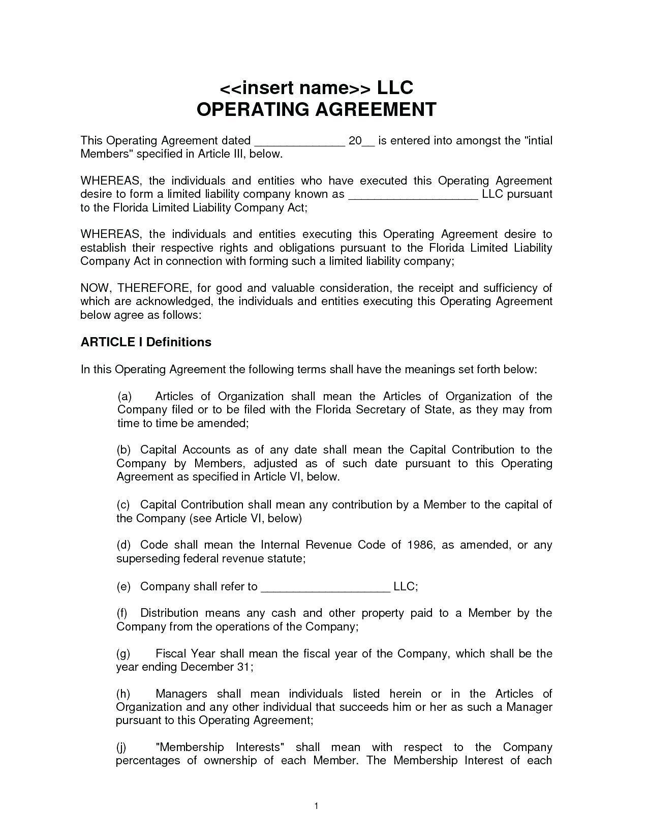 Florida Llc Resolution Template