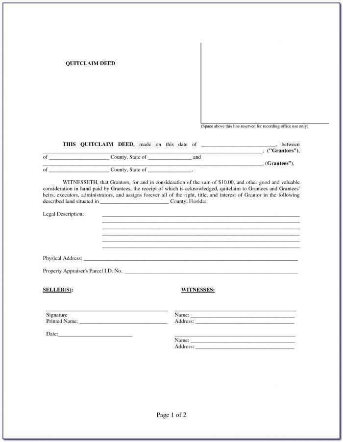 Florida Statutory Quit Claim Deed Form