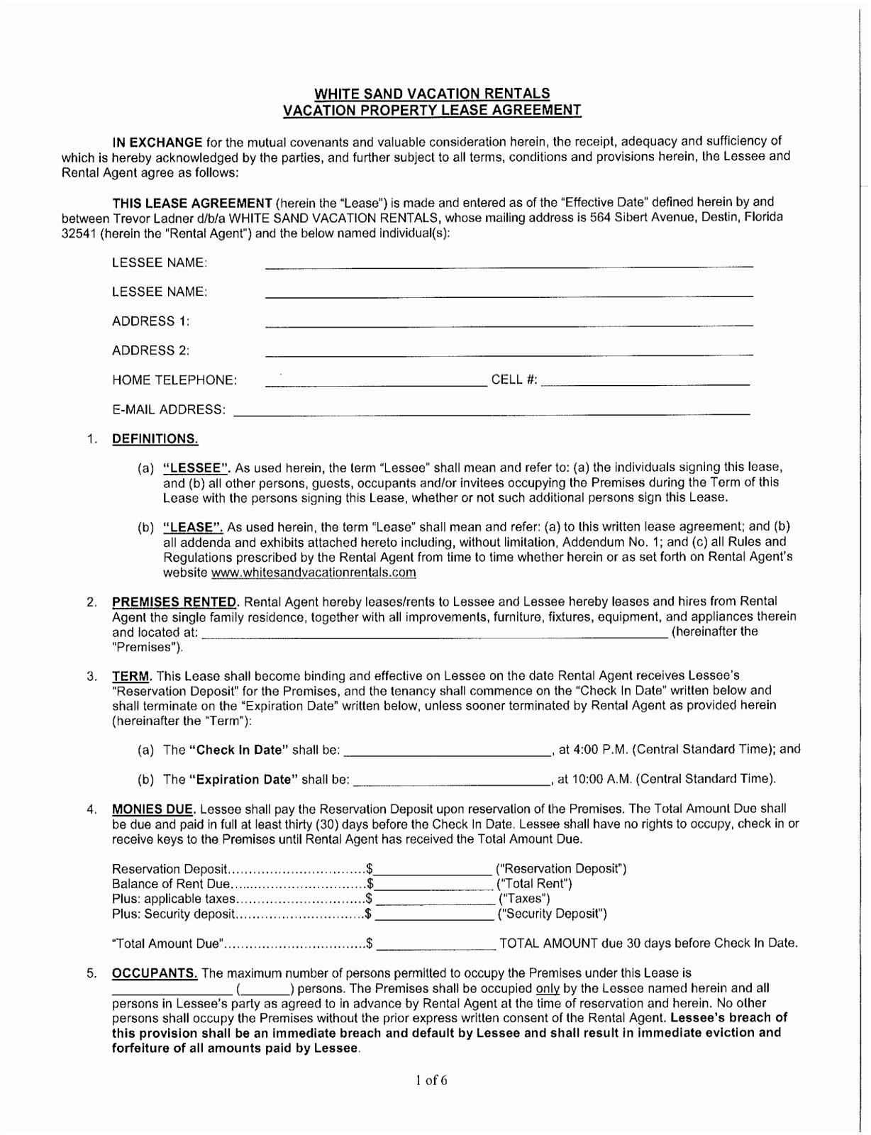 Florida Vacation Rental Agreement Template