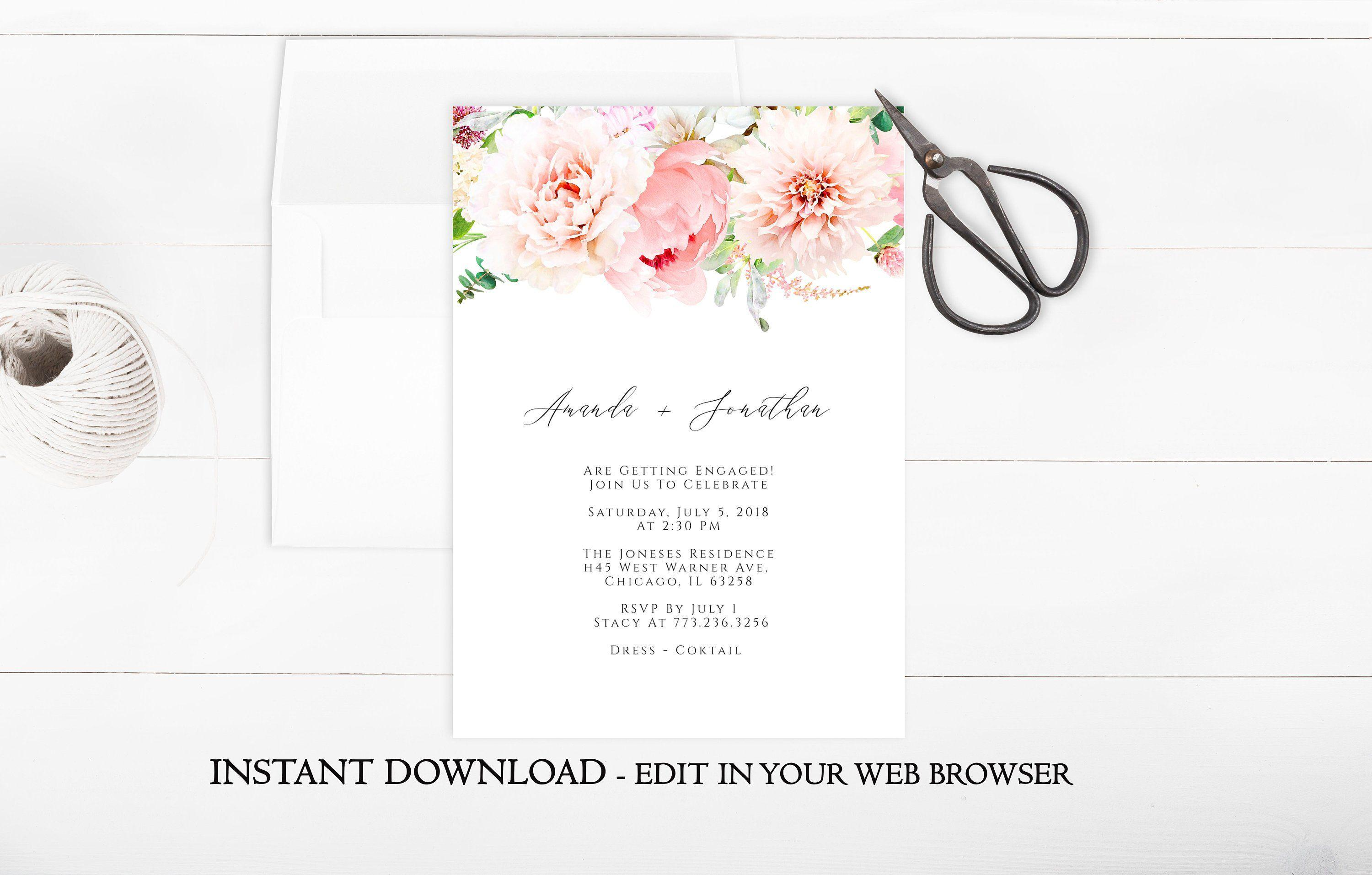 Flower Party Invitation Template