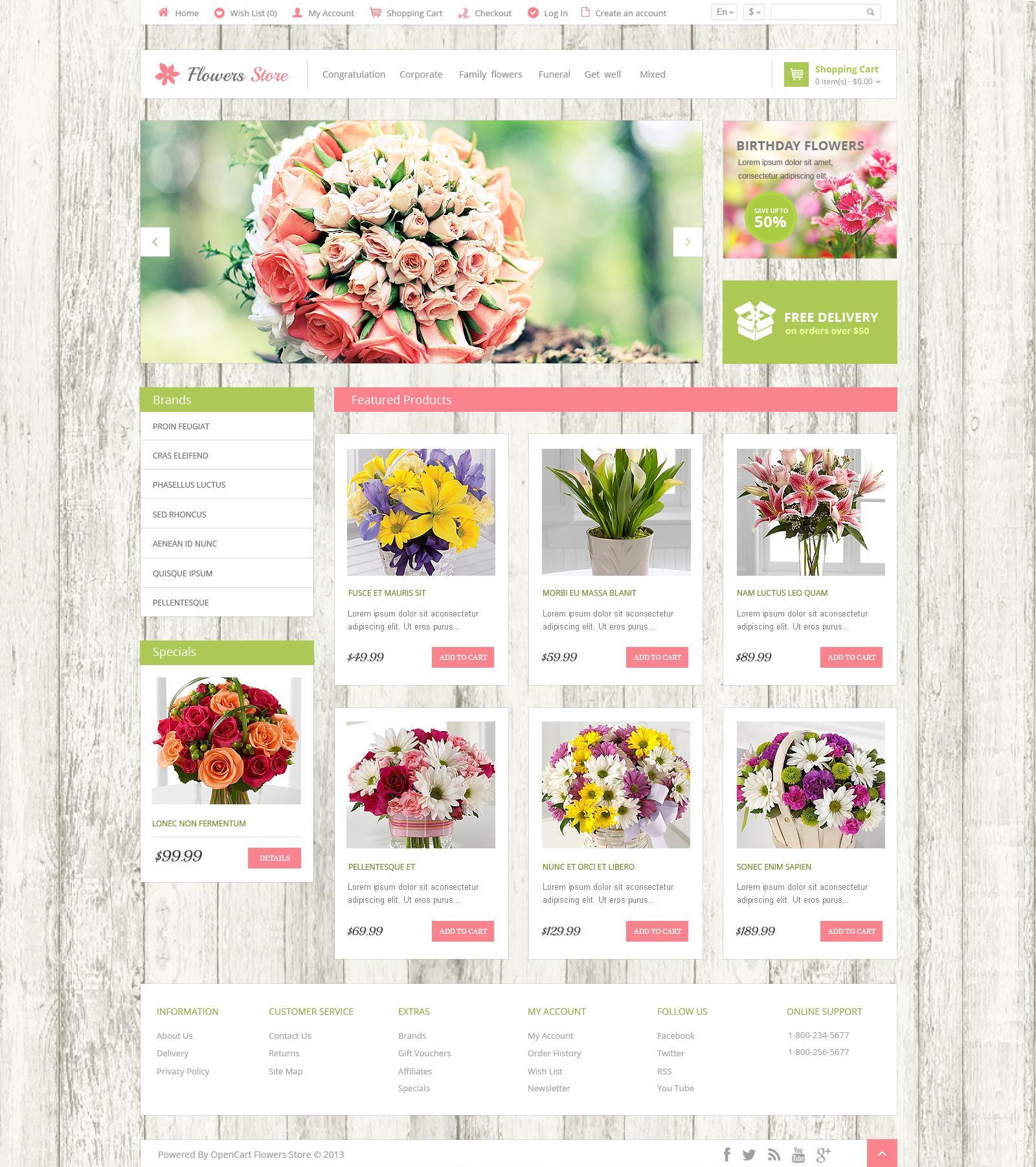 Flower Website Template Psd