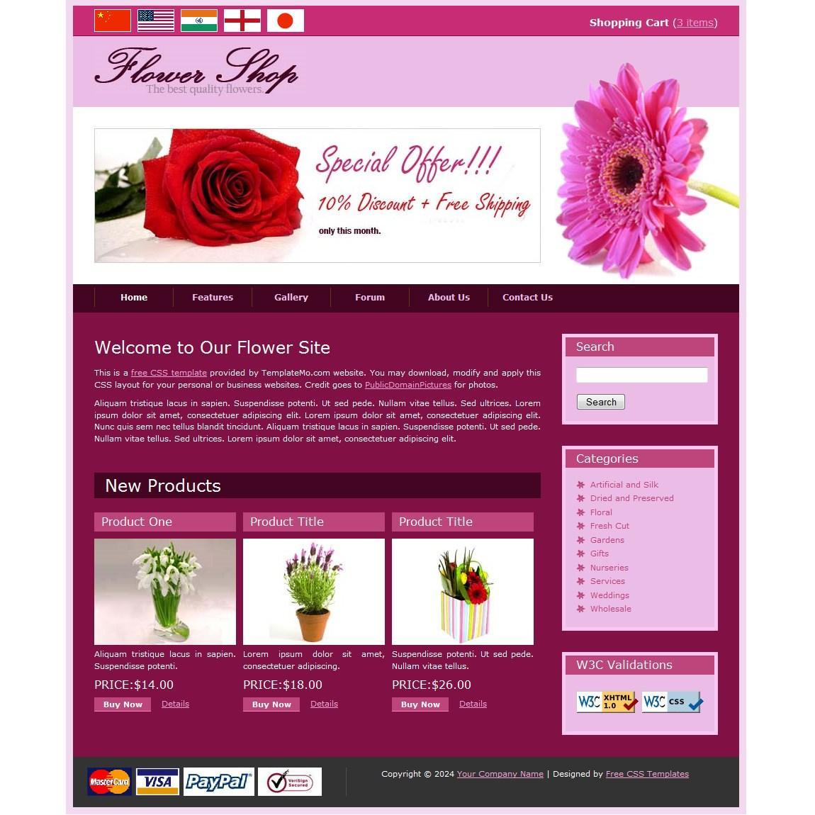 Flower Website Templates Free