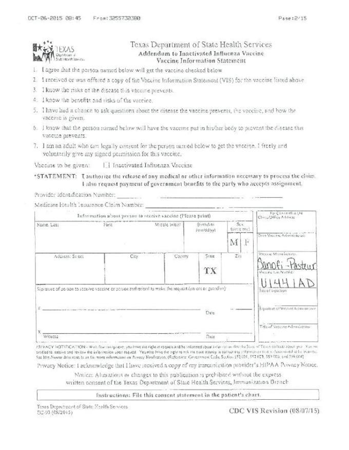 Flu Vaccine Consent Form Template 2018