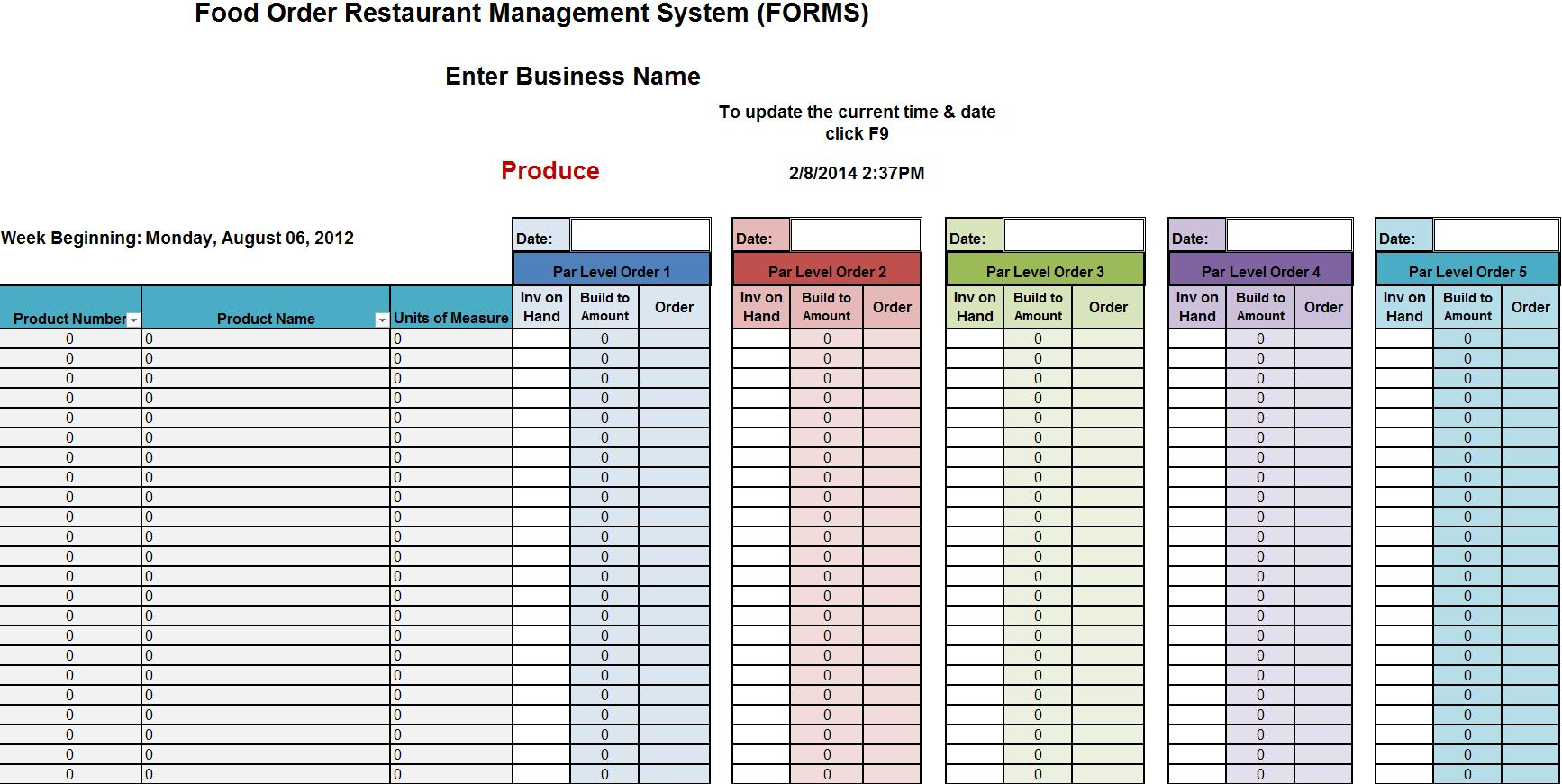 Food Inventory Spreadsheet Template Free