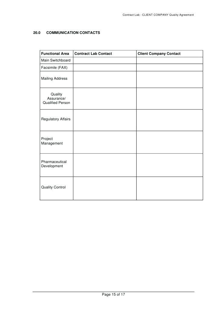 Food Manufacturing Agreement Template