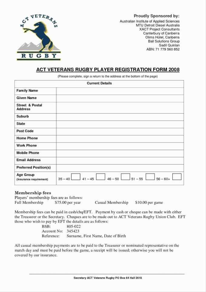 Football Player Registration Form Template Word