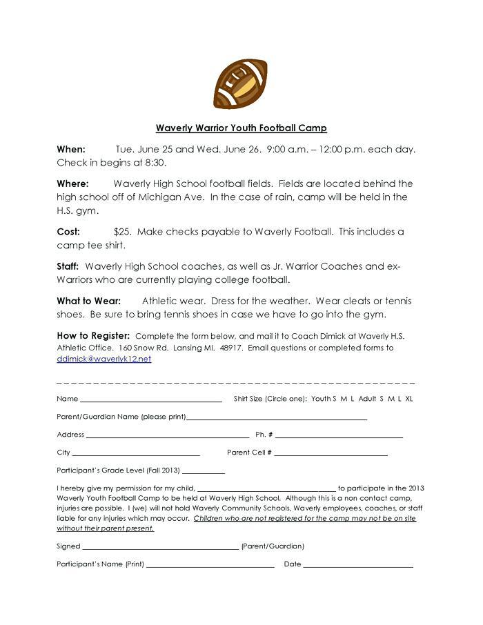Football Player Registration Form Template