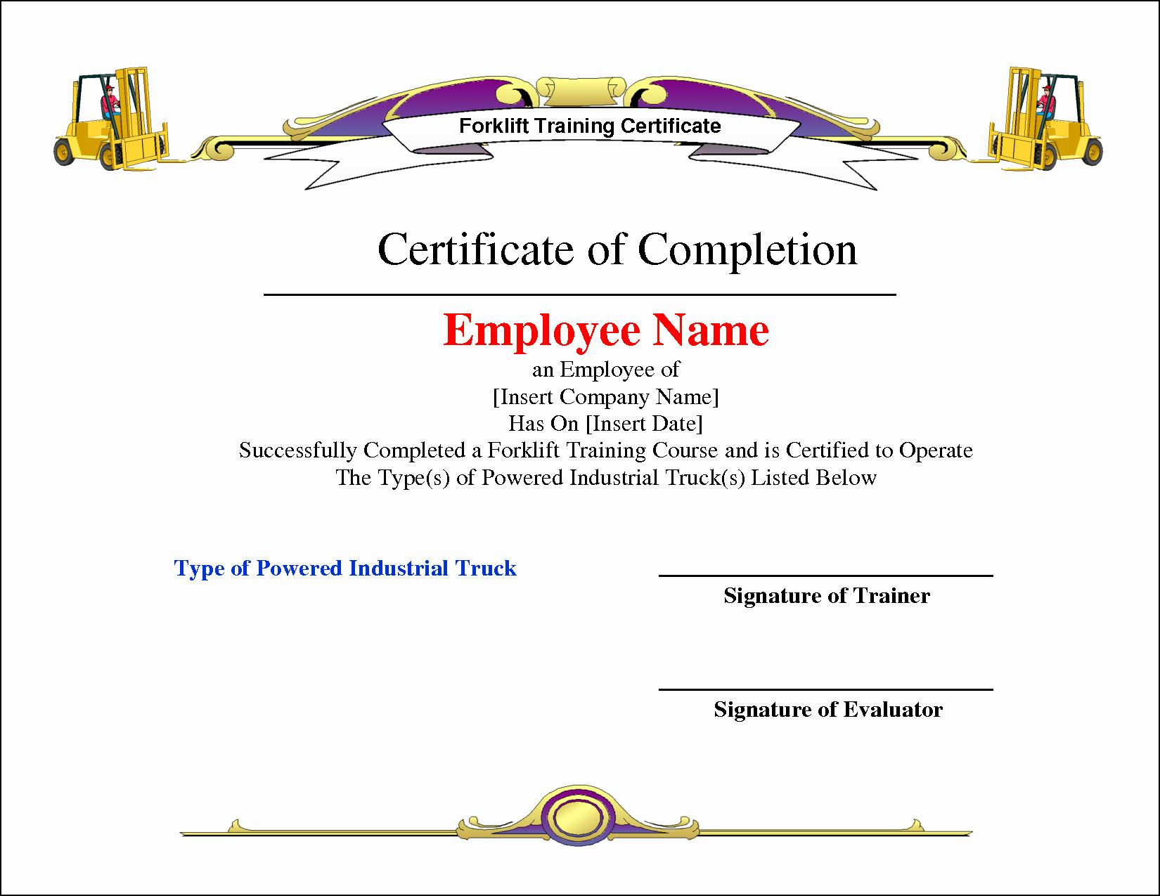 Forklift Certificate Template Pdf
