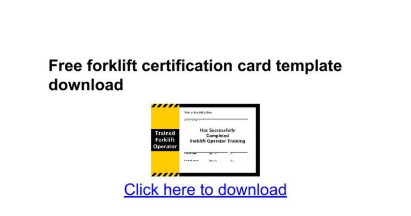 Forklift Certification Card Template Download