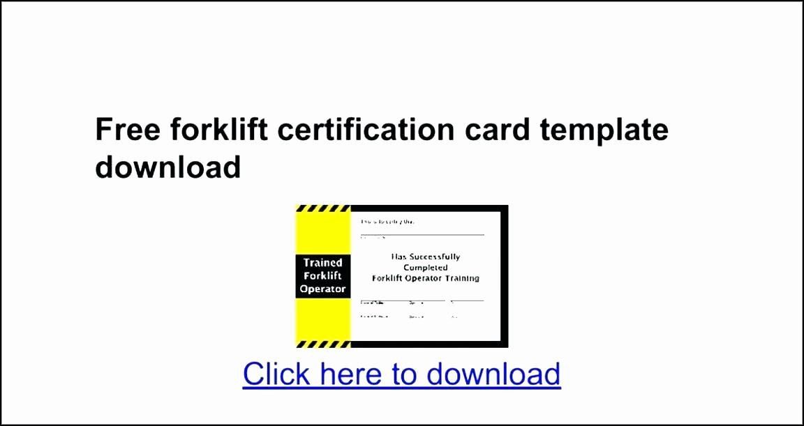 Forklift Certification Template Free