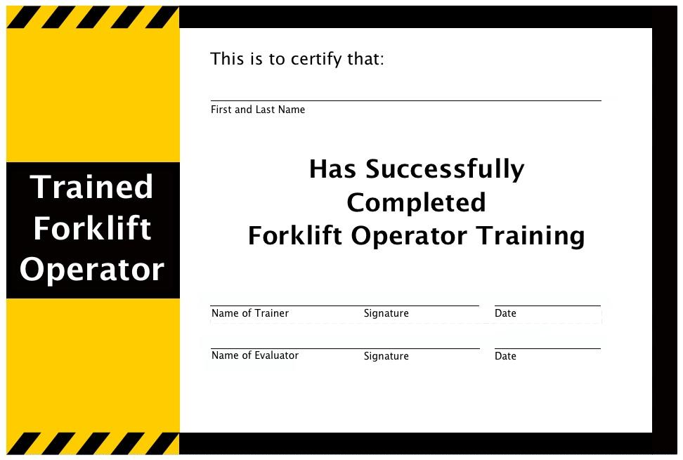 Forklift Licence Certificate Template