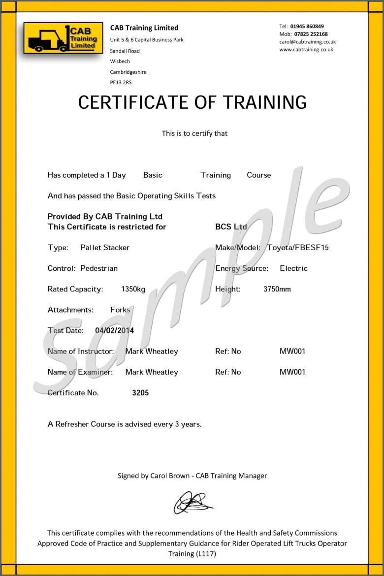 Forklift License Template Word
